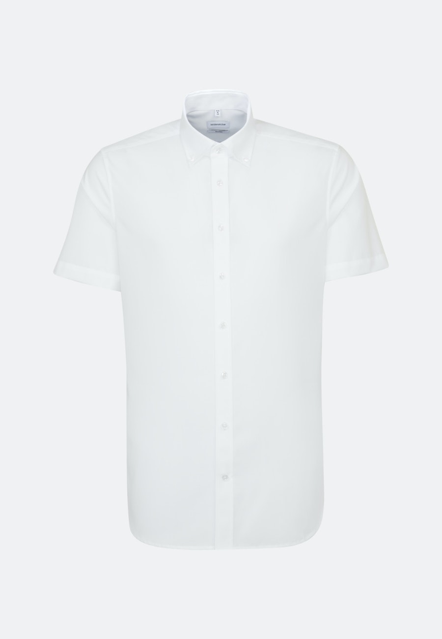 Non-iron Popeline Short sleeve Business Shirt in Shaped with Button-Down-Collar in White |  Seidensticker Onlineshop