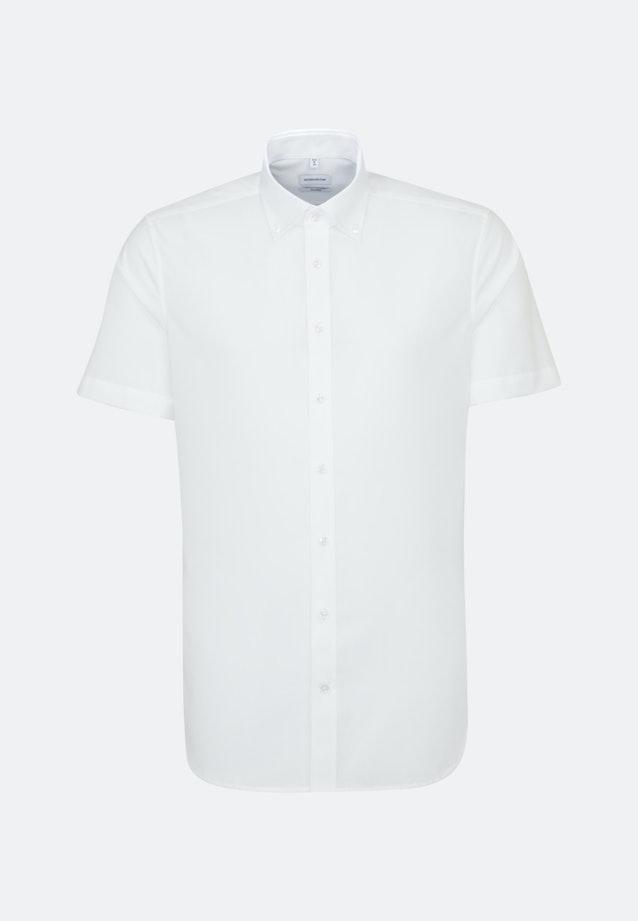 Bügelfreies Popeline Kurzarm Business Hemd in Shaped mit Button-Down-Kragen in Weiß |  Seidensticker Onlineshop
