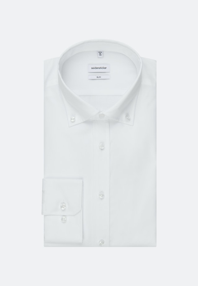 Non-iron Popeline Business Shirt in Slim with Button-Down-Collar in White |  Seidensticker Onlineshop
