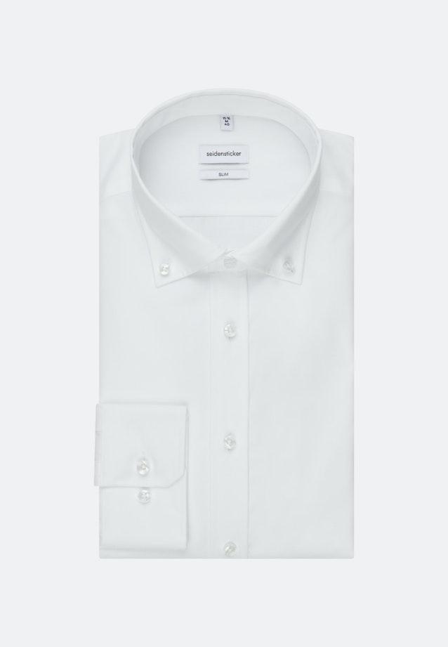 Non-iron Poplin Business Shirt in Slim with Button-Down-Collar in White |  Seidensticker Onlineshop