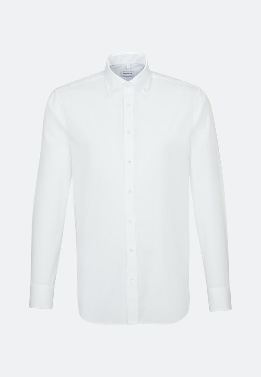 Non-iron Poplin Business Shirt in Slim with Button-Down-Collar in White    Seidensticker Onlineshop