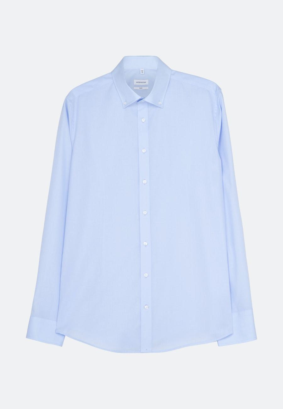 Bügelfreies Popeline Business Hemd in Slim mit Button-Down-Kragen in Mittelblau    Seidensticker Onlineshop