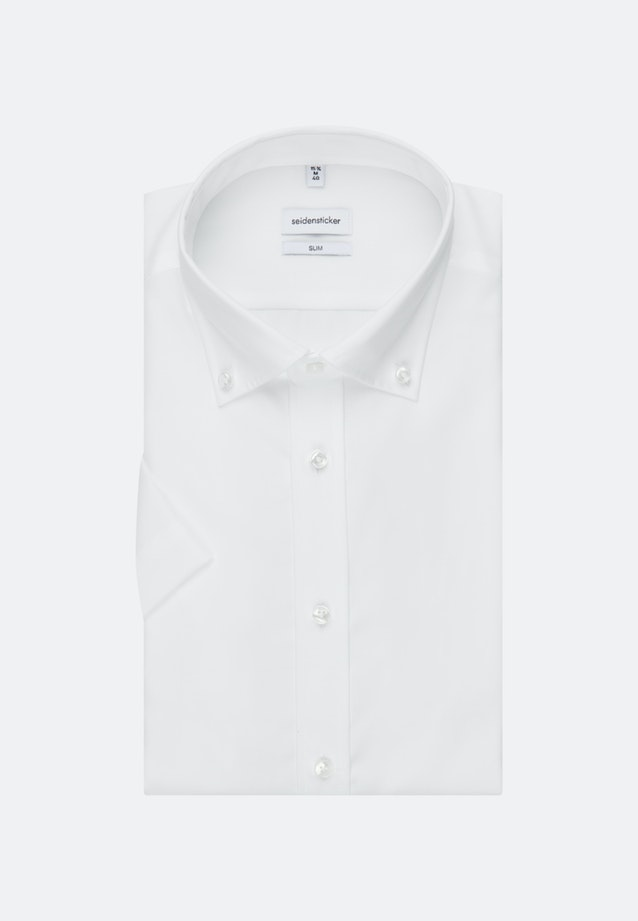 Bügelfreies Popeline Kurzarm Business Hemd in Slim mit Button-Down-Kragen in Weiß |  Seidensticker Onlineshop
