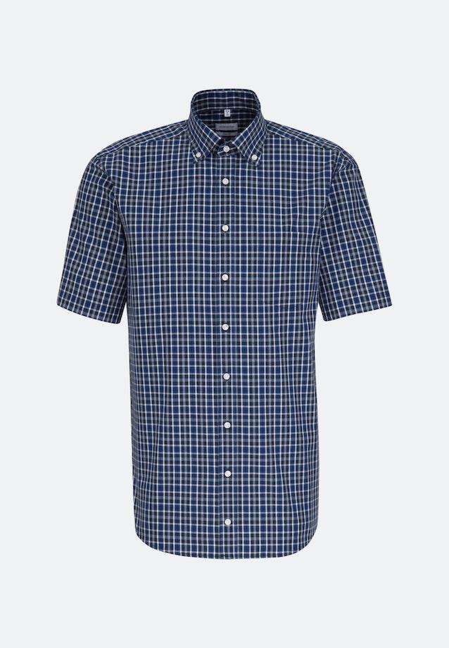 Non-iron Poplin Short sleeve Business Shirt in Comfort with Button-Down-Collar in Medium blue |  Seidensticker Onlineshop