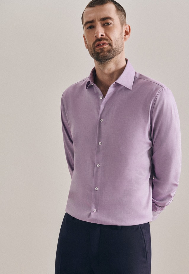 Non-iron Struktur Business Shirt in Shaped with Kent-Collar in Lila |  Seidensticker Onlineshop