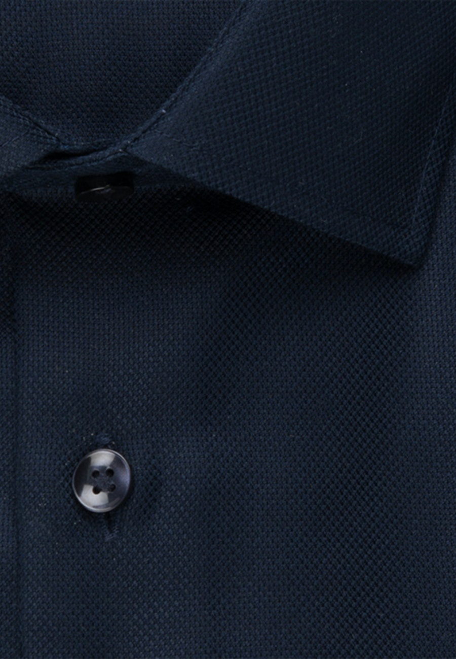 Non-iron Struktur Business Shirt in Shaped with Kent-Collar in Dark blue |  Seidensticker Onlineshop