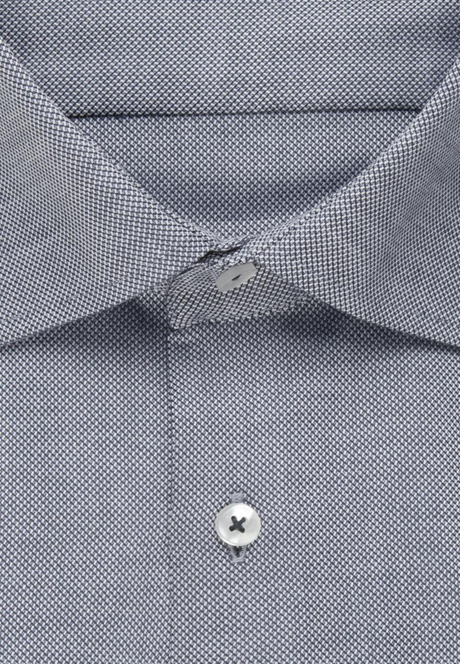 Bügelfreies Struktur Business Hemd in Shaped mit Kentkragen in Grau    Seidensticker Onlineshop
