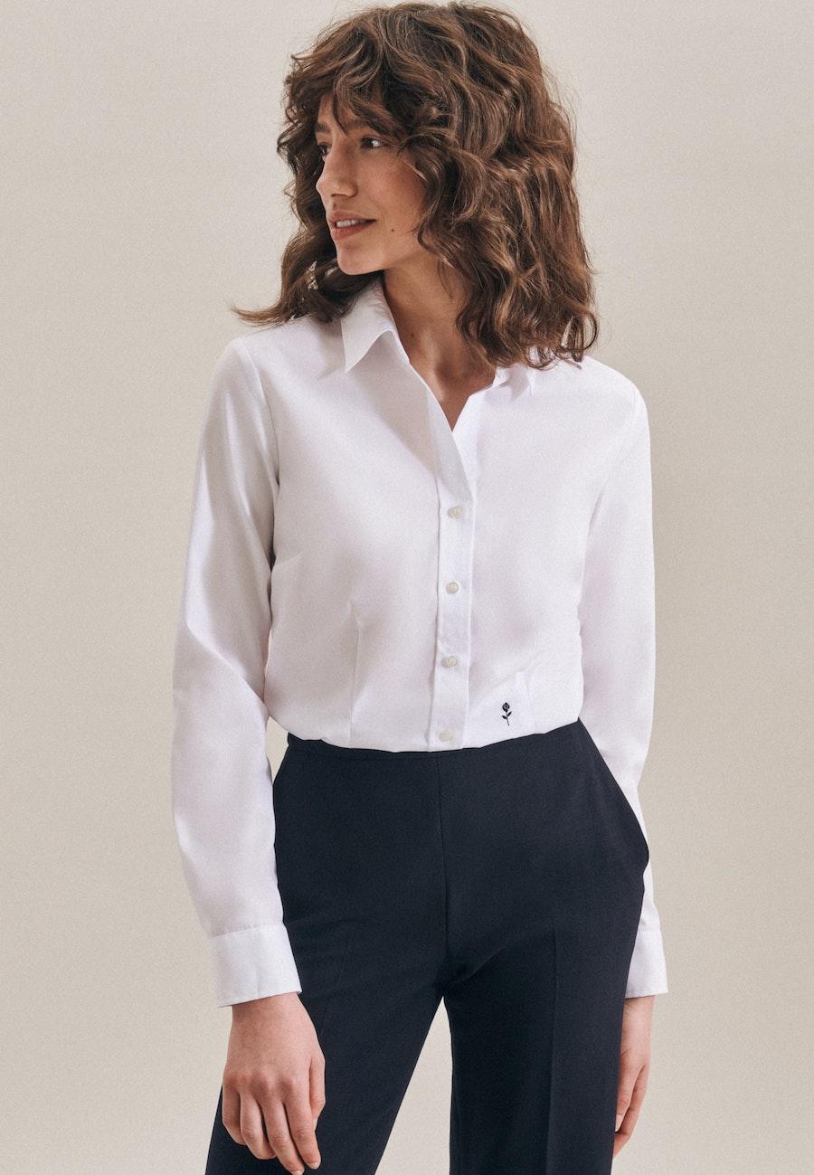 Bügelfreie Fil a fil Hemdbluse aus 100% Baumwolle in Weiß |  Seidensticker Onlineshop