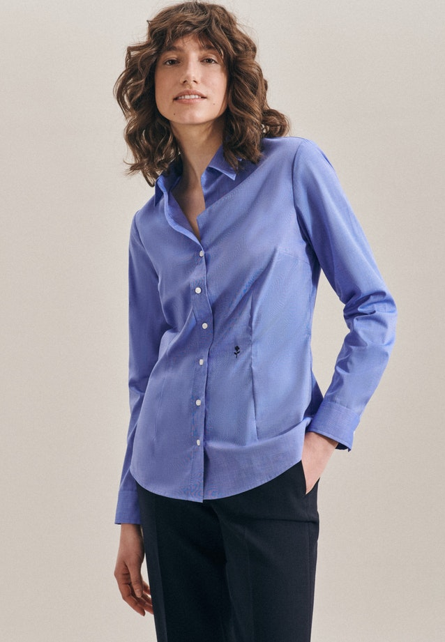 Non-iron Fil a fil Shirt Blouse made of 100% Cotton in Medium blue |  Seidensticker Onlineshop