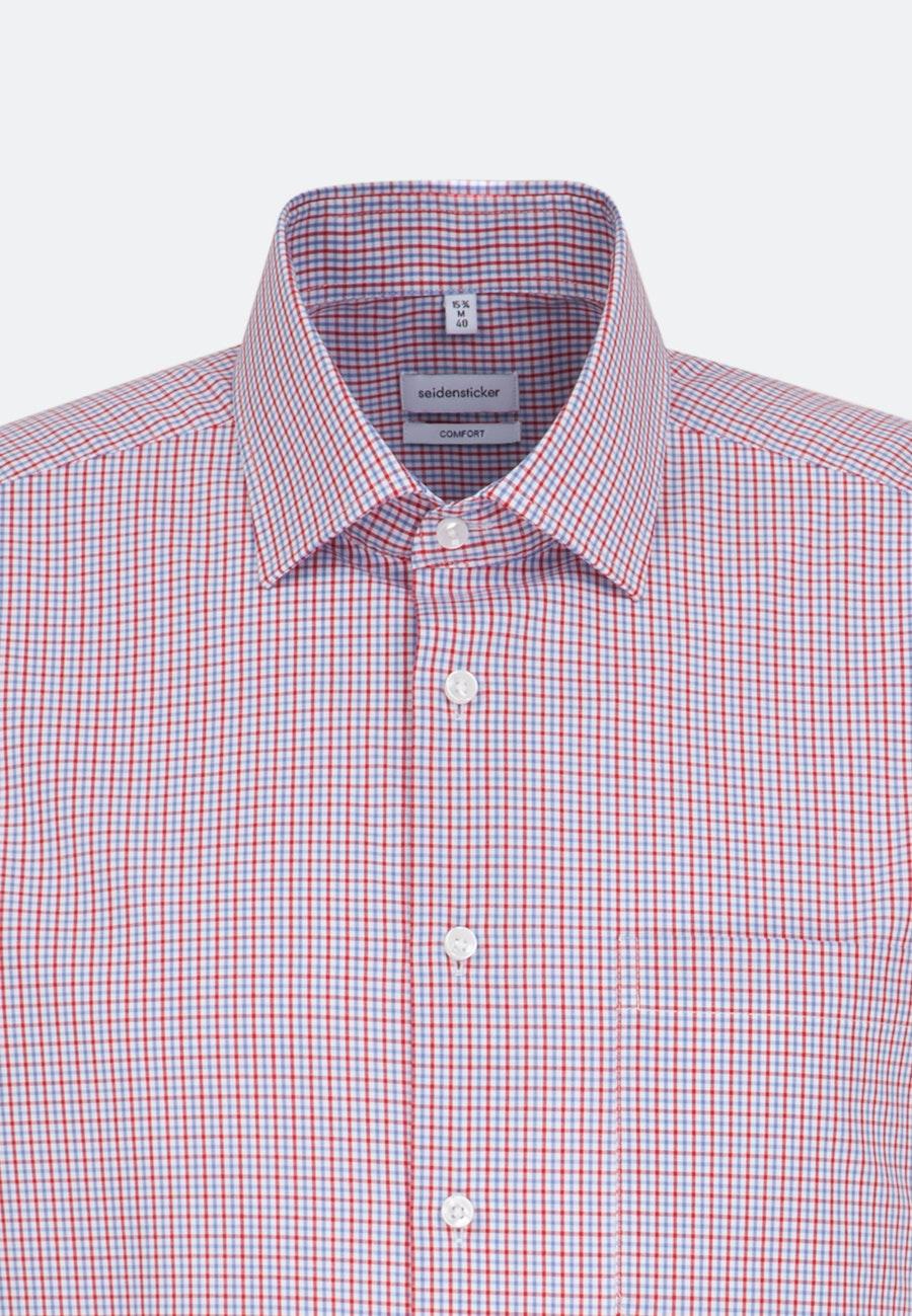 Bügelfreies Popeline Kurzarm Business Hemd in Comfort mit Kentkragen in Rot |  Seidensticker Onlineshop