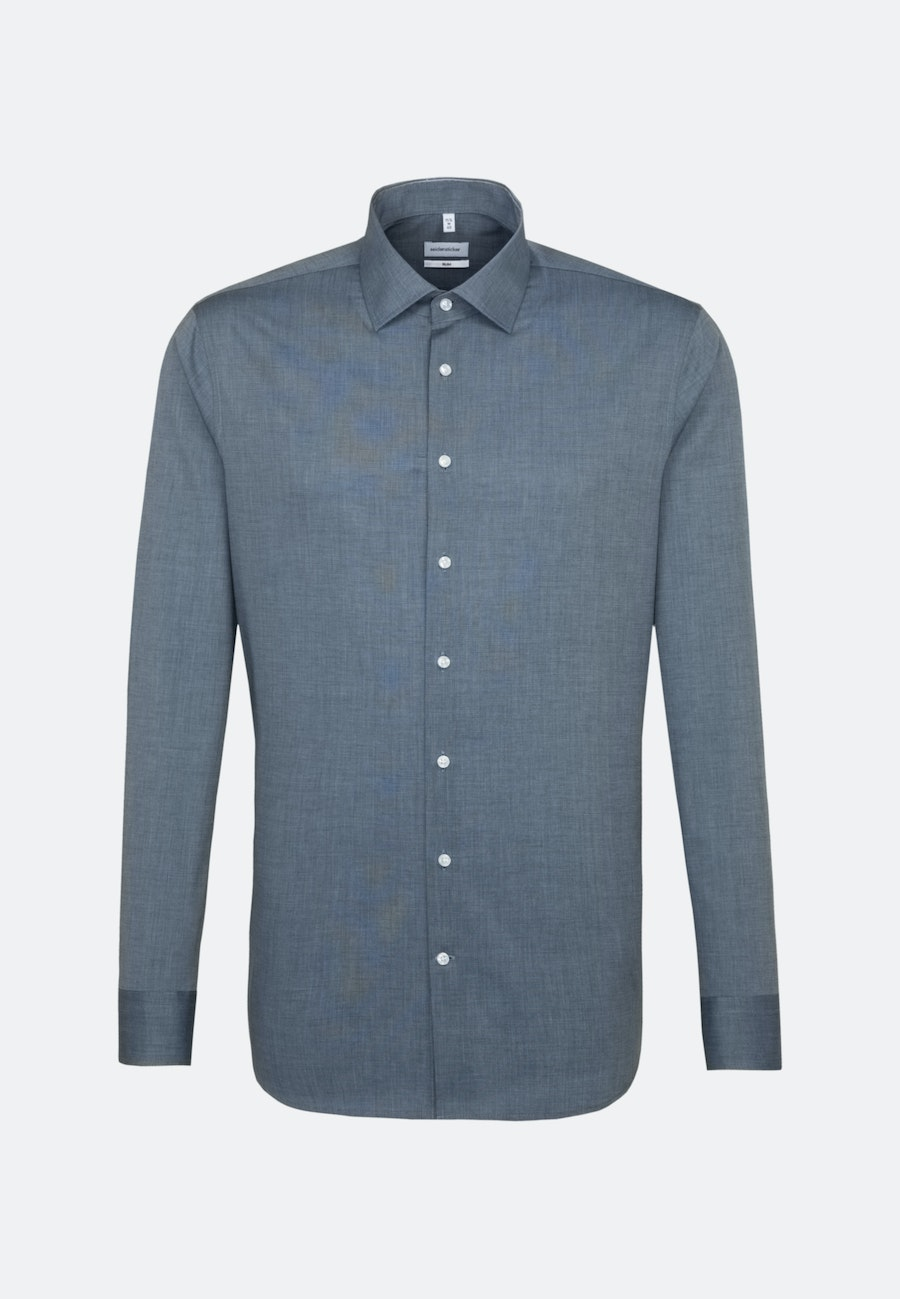 Non-iron Fil a fil Business Shirt in Slim with Kent-Collar in Dark blue |  Seidensticker Onlineshop
