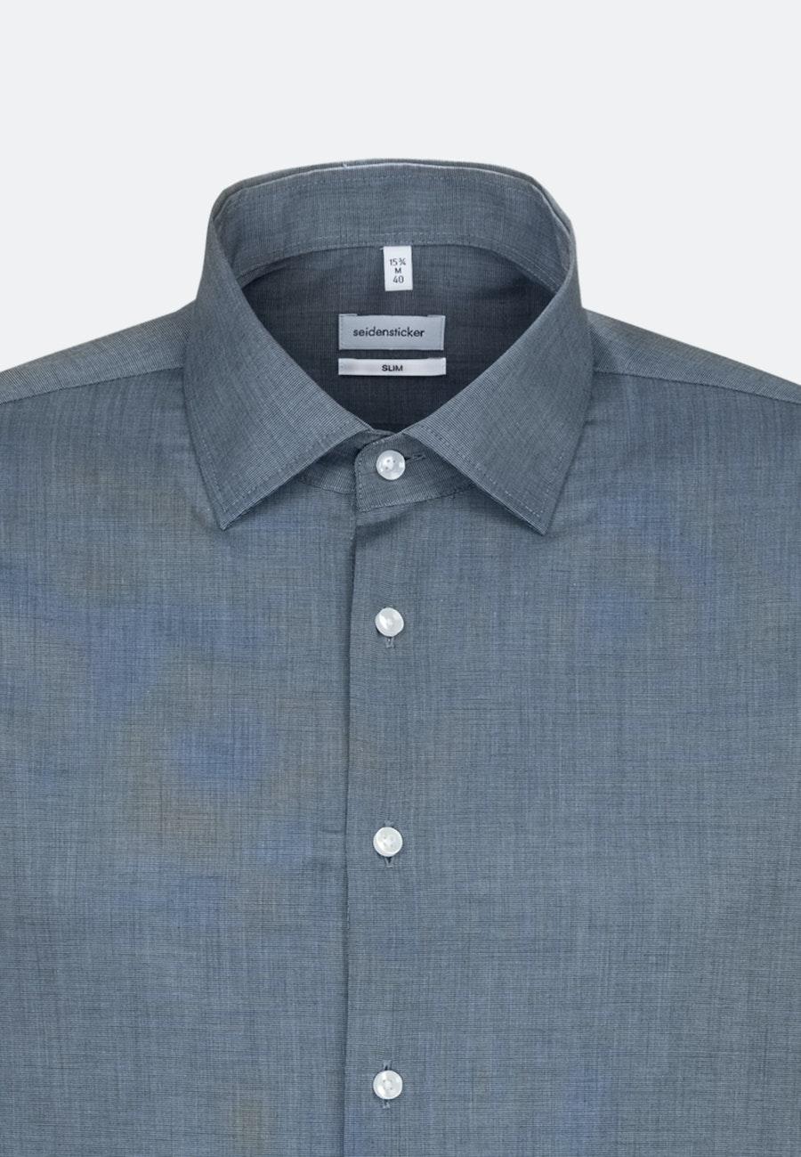 Non-iron Fil a fil Business Shirt in Slim with Kent-Collar in Dark blue    Seidensticker Onlineshop