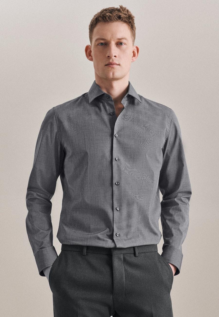 Non-iron Fil a fil Business Shirt in Slim with Kent-Collar in Grey |  Seidensticker Onlineshop