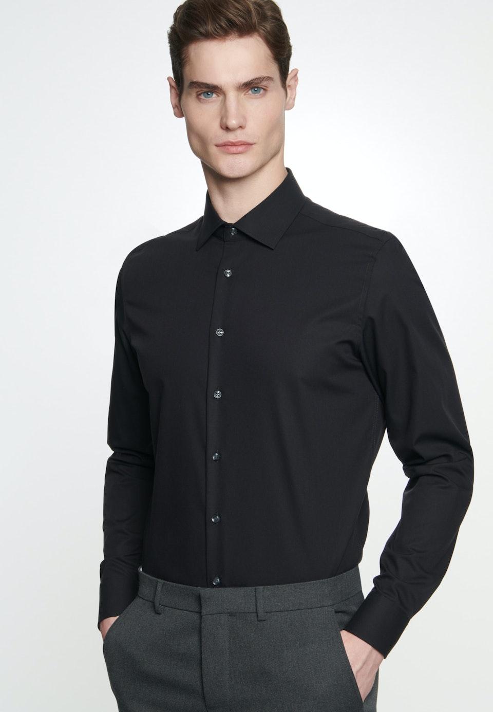 Non-iron Popeline Business Shirt in Shaped with Kent-Collar in Black |  Seidensticker Onlineshop