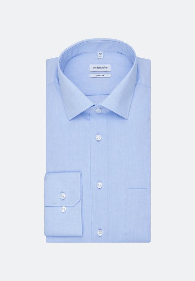 Bügelfreies Chambray Business Hemd in Regular mit Kentkragen und extra langem Arm in Mittelblau |  Seidensticker Onlineshop