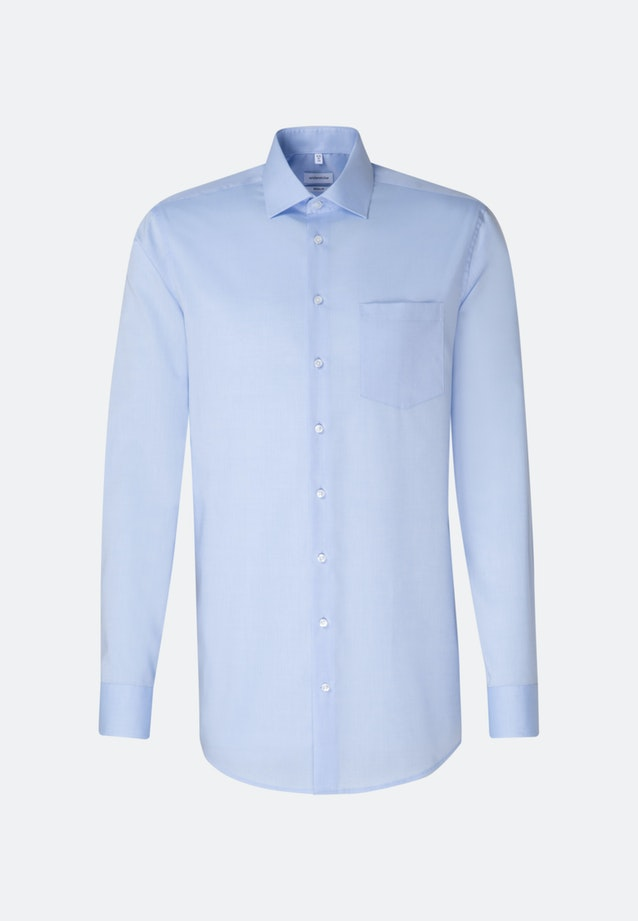 Bügelfreies Chambray Business Hemd in Regular mit Kentkragen und extra langem Arm in Mittelblau    Seidensticker Onlineshop