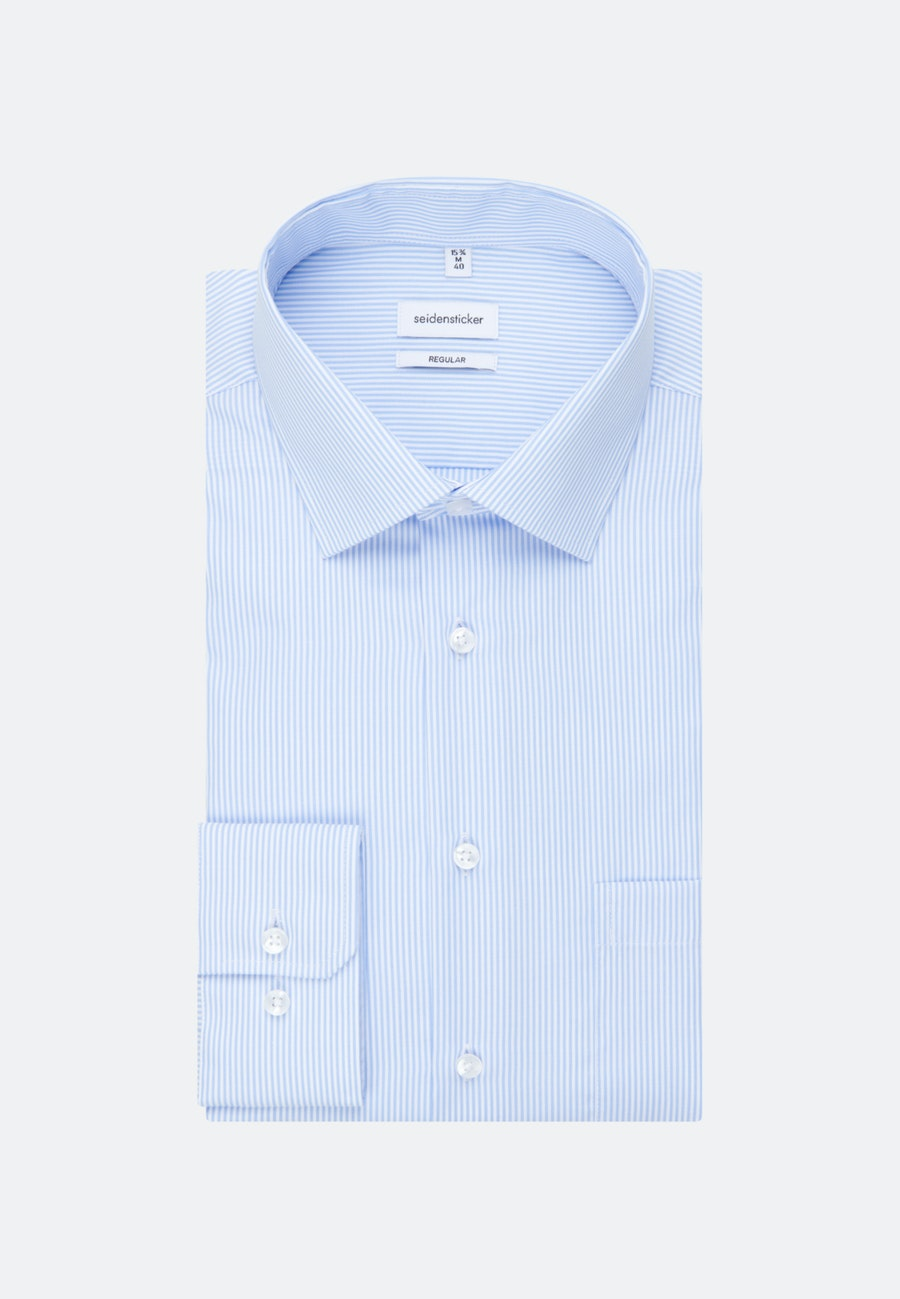 Non-iron Popeline Business Shirt in Regular with Kent-Collar in Light blue |  Seidensticker Onlineshop