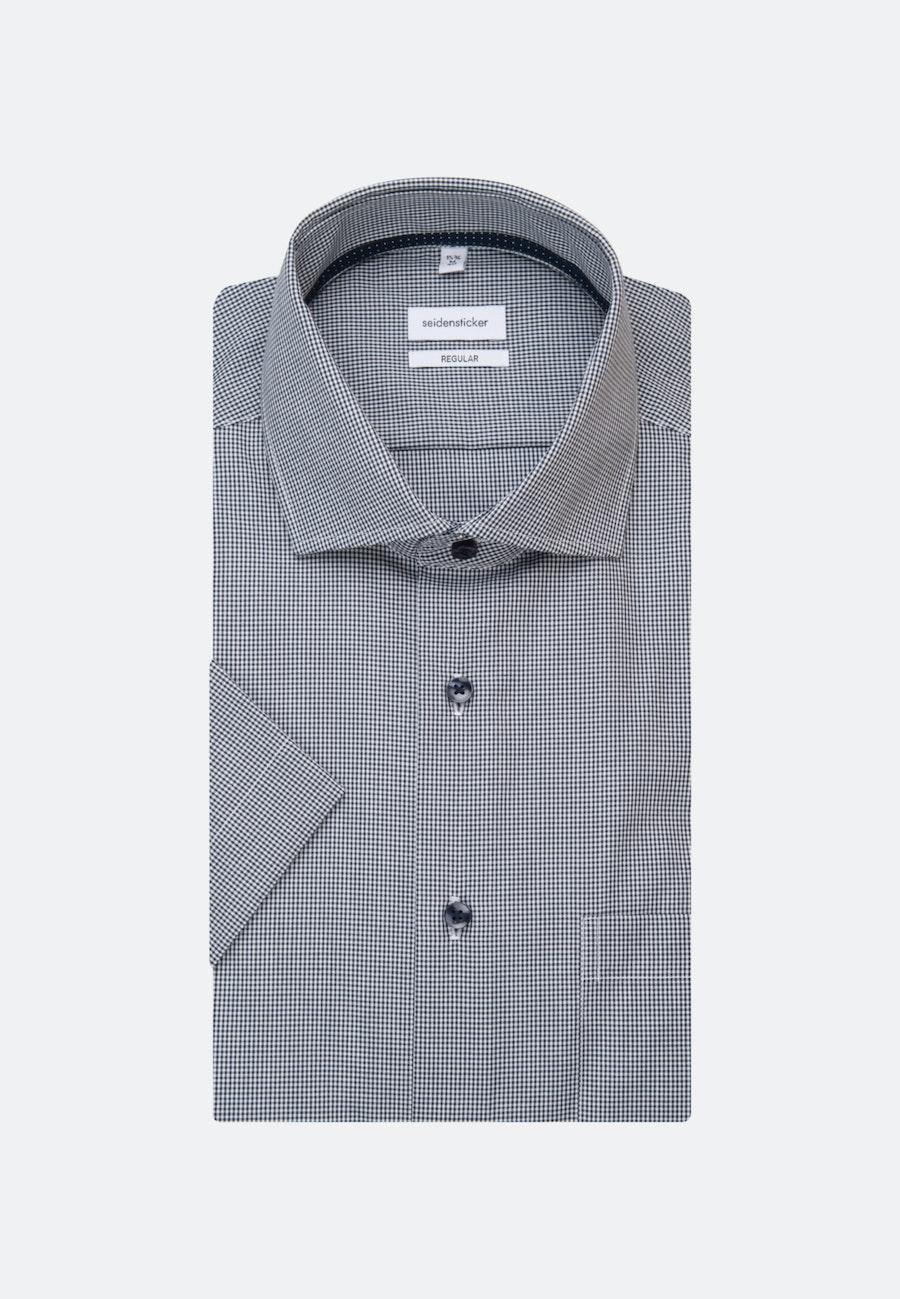 Non-iron Poplin Short sleeve Business Shirt in Regular with Kent-Collar in Dark blue |  Seidensticker Onlineshop