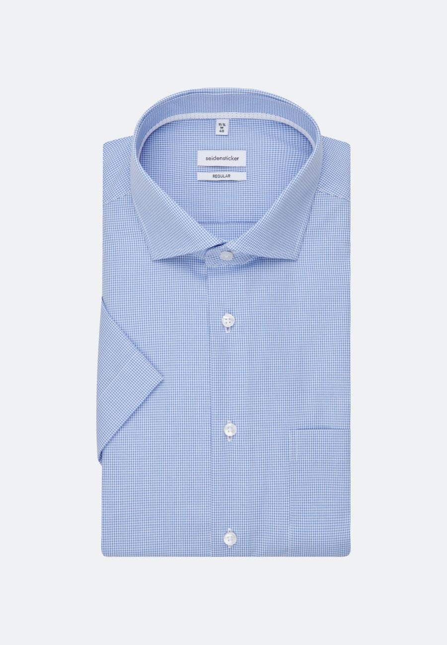 Bügelfreies Popeline Kurzarm Business Hemd in Regular mit Kentkragen in Hellblau    Seidensticker Onlineshop