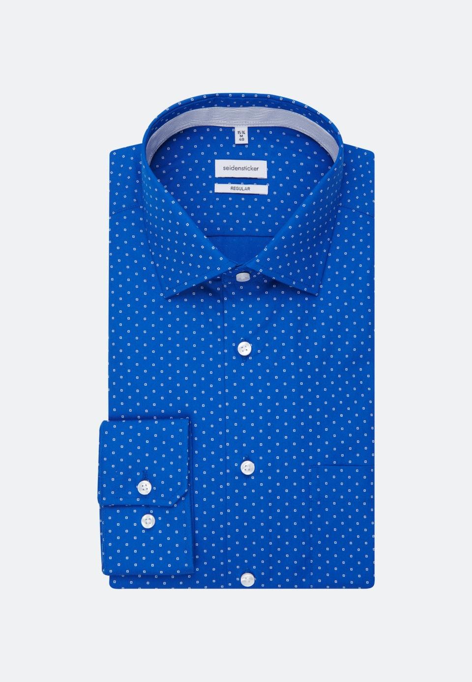 Bügelleichtes Popeline Business Hemd in Regular mit Kentkragen in Mittelblau |  Seidensticker Onlineshop