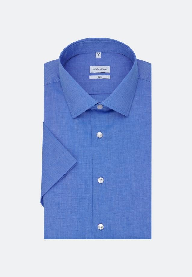 Non-iron Fil a fil Short sleeve Business Shirt in Slim with Kent-Collar in Medium blue    Seidensticker Onlineshop