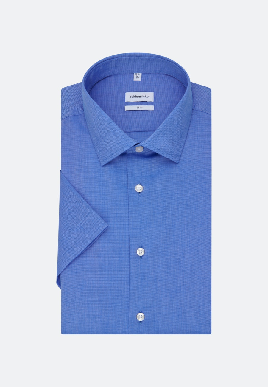 Non-iron Fil a fil Short sleeve Business Shirt in Slim with Kent-Collar in Medium blue |  Seidensticker Onlineshop