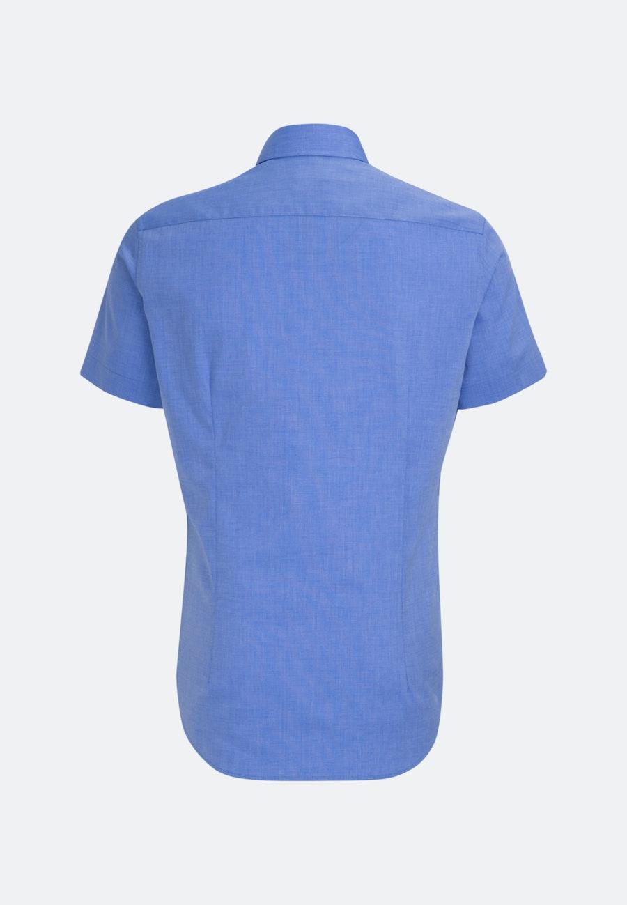 Bügelfreies Fil a fil Kurzarm Business Hemd in Slim mit Kentkragen in Mittelblau    Seidensticker Onlineshop