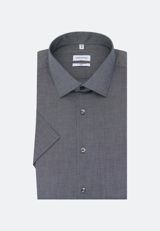 Non-iron Fil a fil Short sleeve Business Shirt in Slim with Kent-Collar in Grey |  Seidensticker Onlineshop