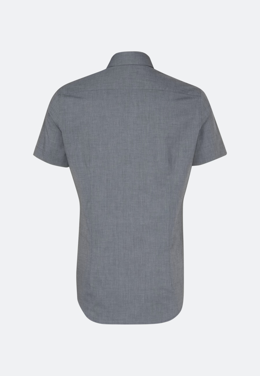 Non-iron Fil a fil Short sleeve Business Shirt in Slim with Kent-Collar in Grey |  Seidensticker Onlineshop