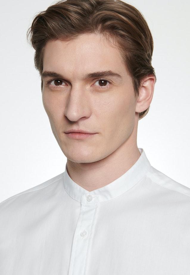 Bügelleichtes Twill Business Hemd in Slim mit Stehkragen in Weiß    Seidensticker Onlineshop