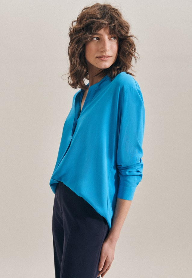 Twill Slip Over Blouse made of 100% Viscose in Medium blue |  Seidensticker Onlineshop