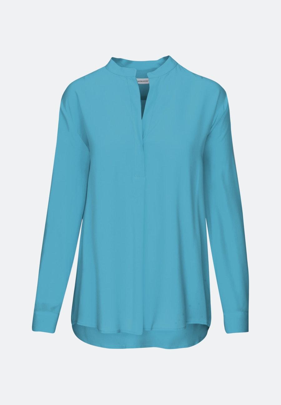 Twill Slip Over Blouse made of 100% Viscose in Medium blue |  Seidensticker Onlineshop