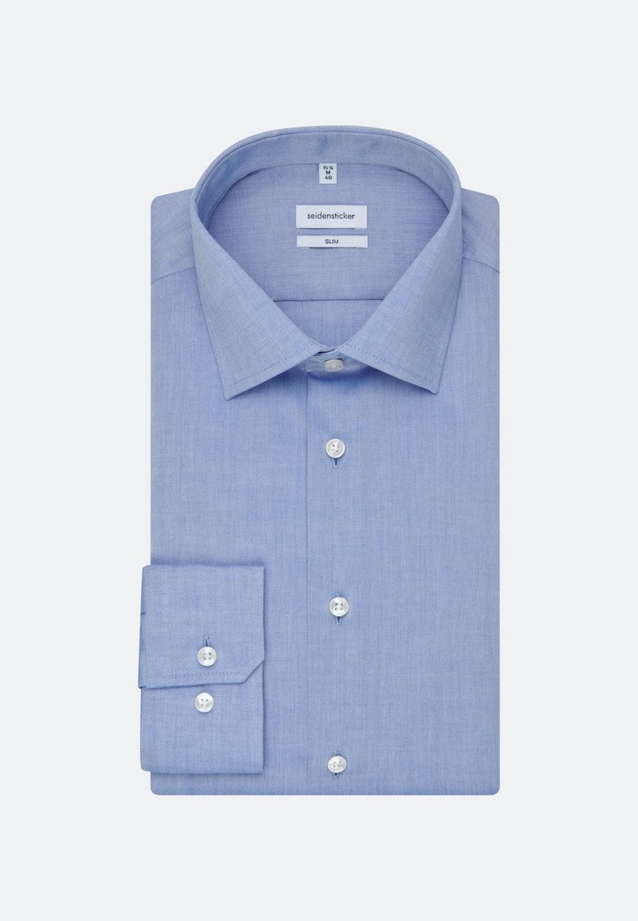 Non-iron Chambray Business Shirt in Slim with Kent-Collar in Medium blue |  Seidensticker Onlineshop