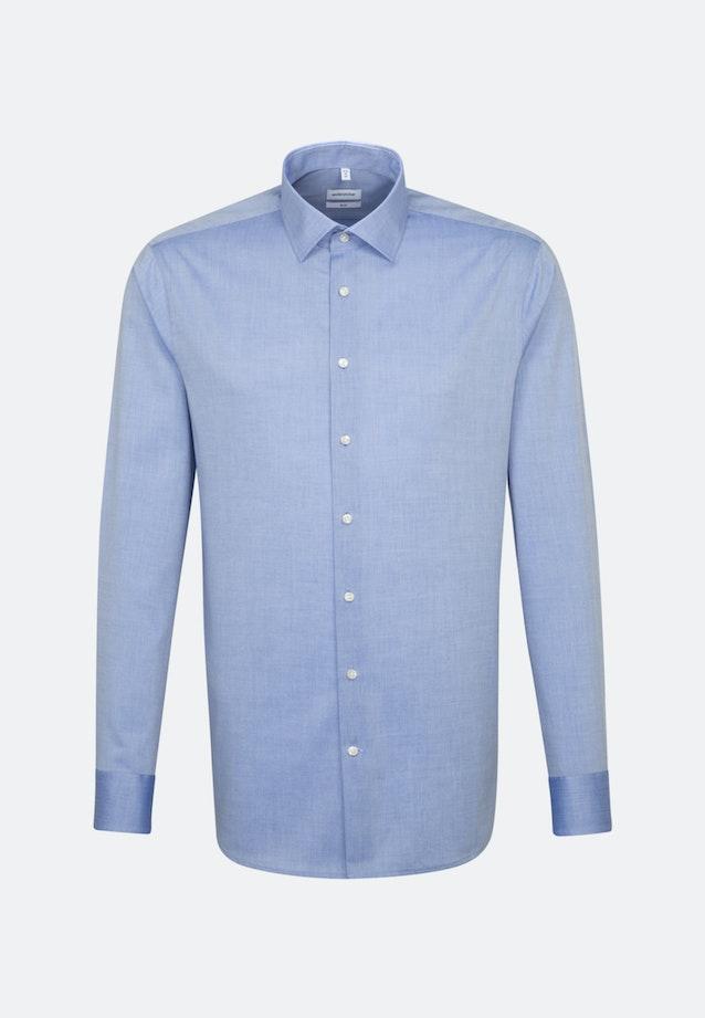 Bügelfreies Chambray Business Hemd in Slim mit Kentkragen in Mittelblau    Seidensticker Onlineshop