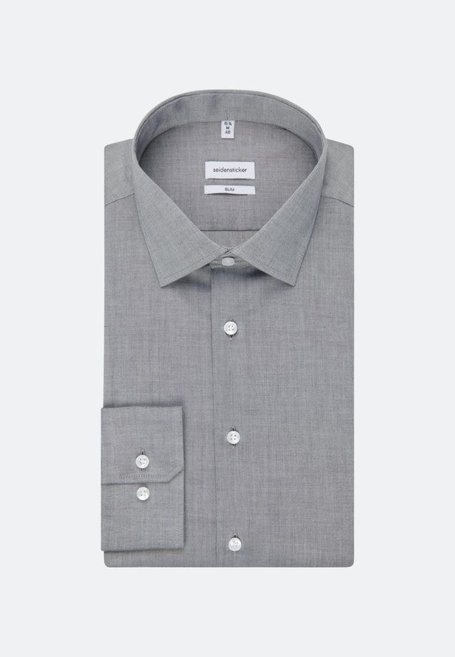 Non-iron Chambray Business Shirt in Slim with Kent-Collar in Grey |  Seidensticker Onlineshop