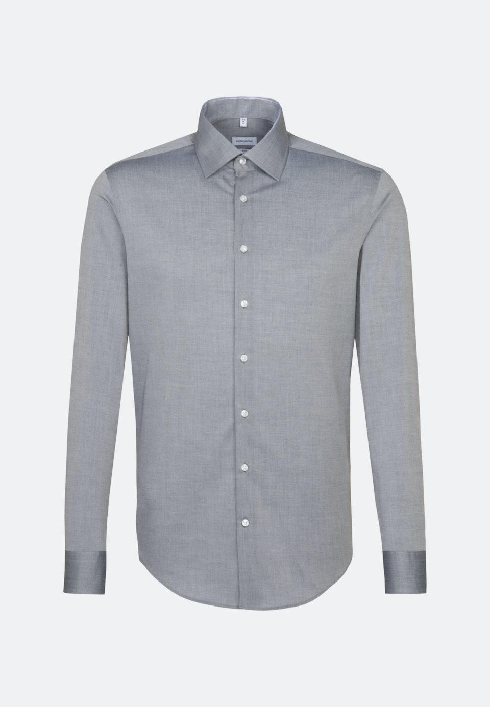 Bügelfreies Chambray Business Hemd in Slim mit Kentkragen in Grau    Seidensticker Onlineshop