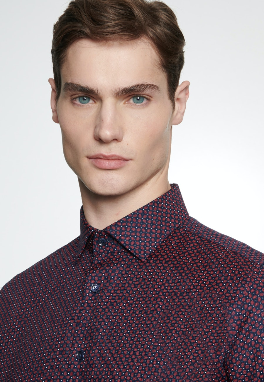 Easy-iron Structure Business Shirt in X-Slim with Kent-Collar in Red    Seidensticker Onlineshop