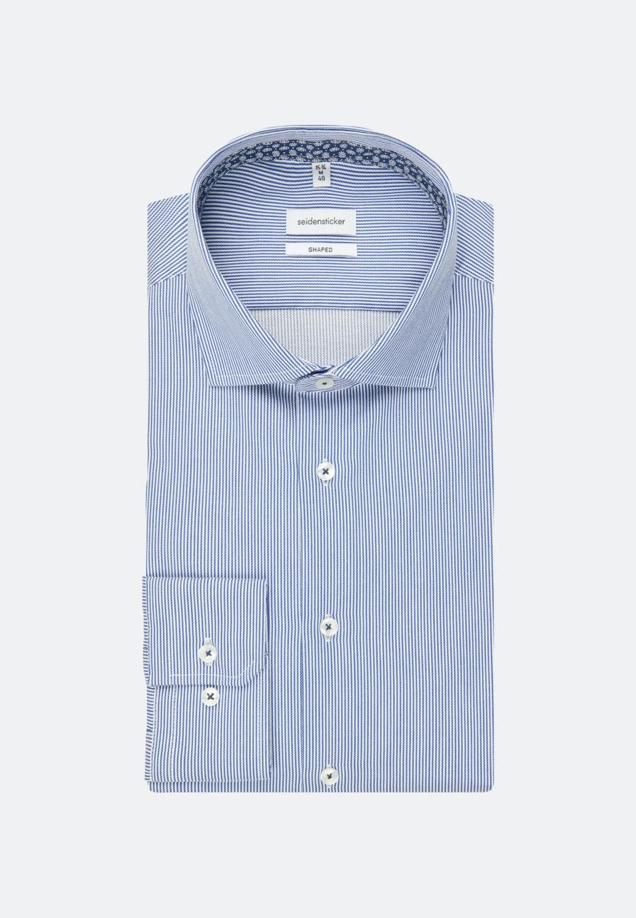 Bügelleichtes Twill Business Hemd in Shaped mit Kentkragen und extra langem Arm in Mittelblau |  Seidensticker Onlineshop