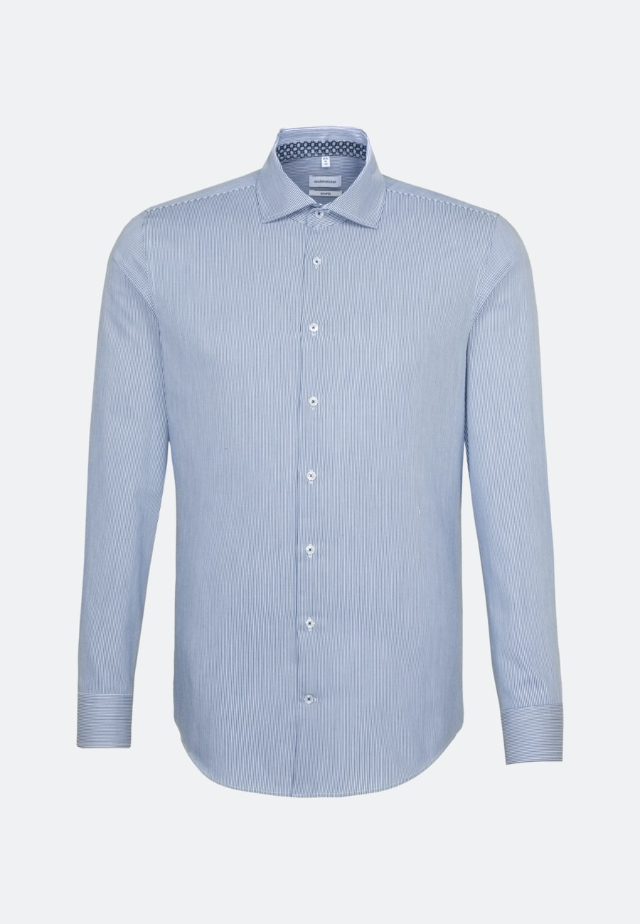 Easy-iron Twill Business Shirt in Shaped with Kent-Collar in Medium blue |  Seidensticker Onlineshop