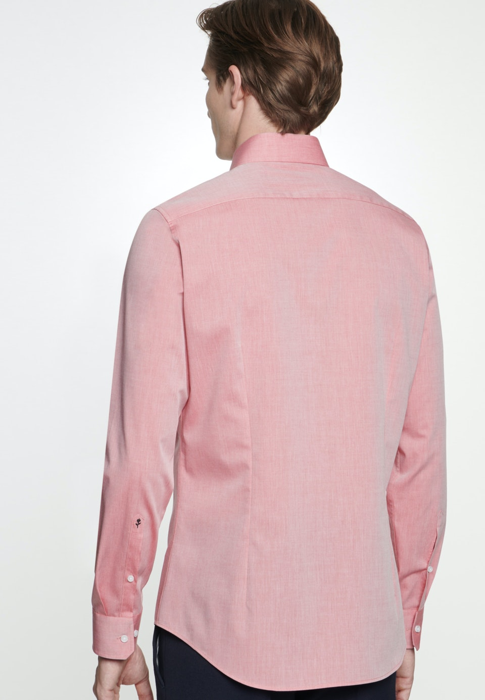 Non-iron Chambray Business Shirt in X-Slim with Kent-Collar in Red    Seidensticker Onlineshop