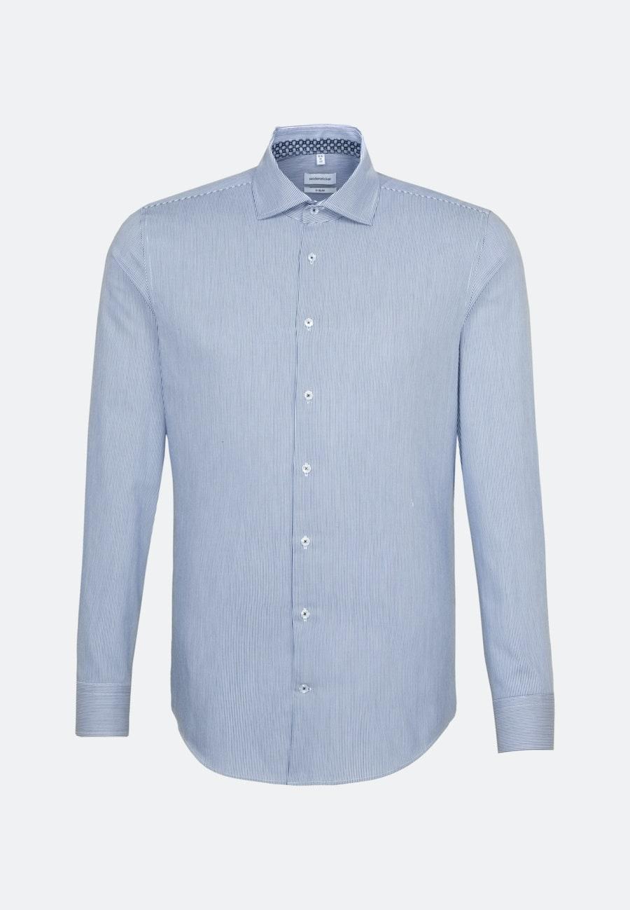 Bügelleichtes Twill Business Hemd in X-Slim mit Kentkragen in Mittelblau |  Seidensticker Onlineshop