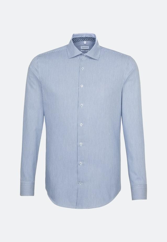 Bügelleichtes Twill Business Hemd in Slim mit Kentkragen und extra langem Arm in Mittelblau |  Seidensticker Onlineshop