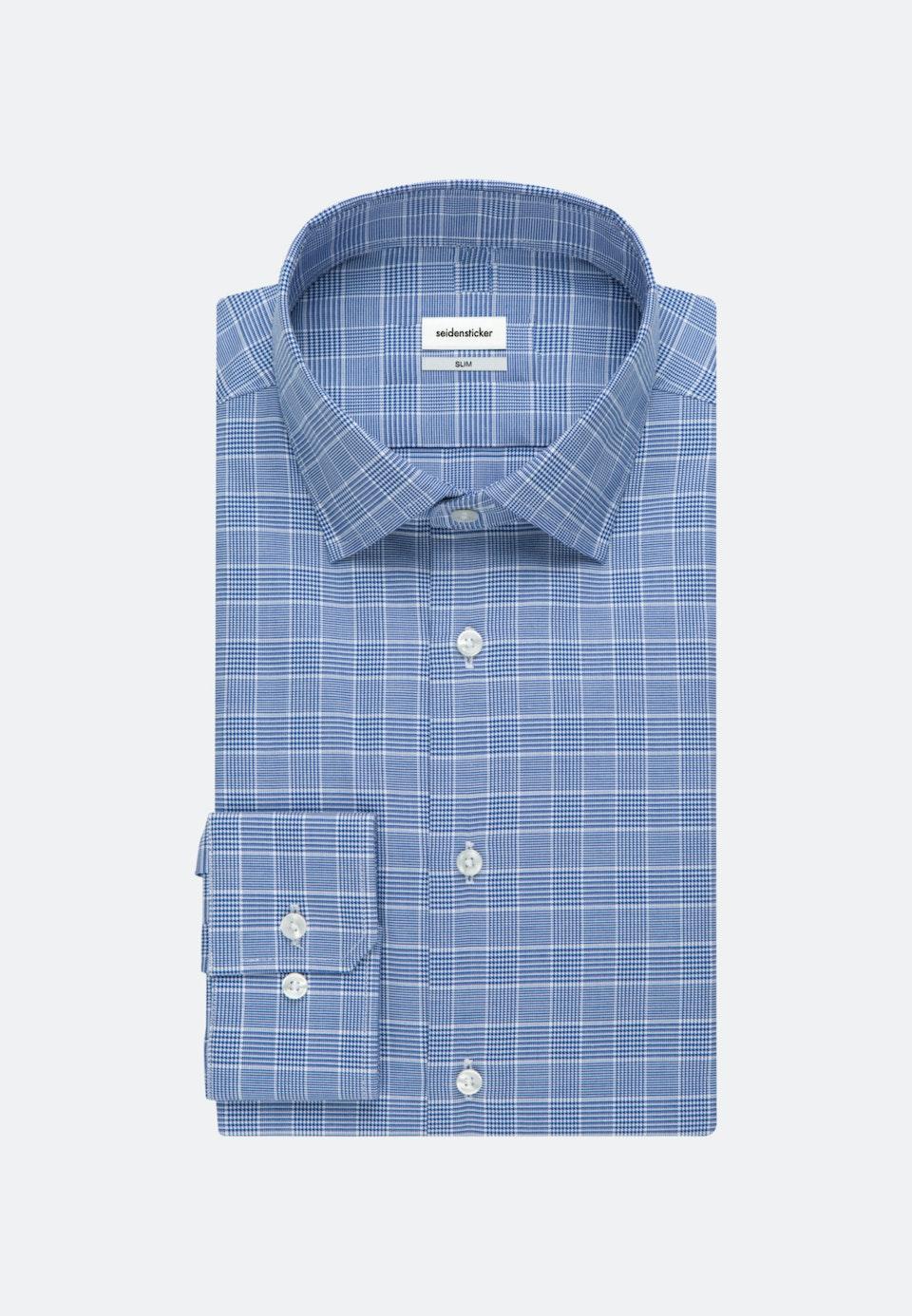 Easy-iron Glencheck Business Shirt in Slim with Kent-Collar in Medium blue |  Seidensticker Onlineshop