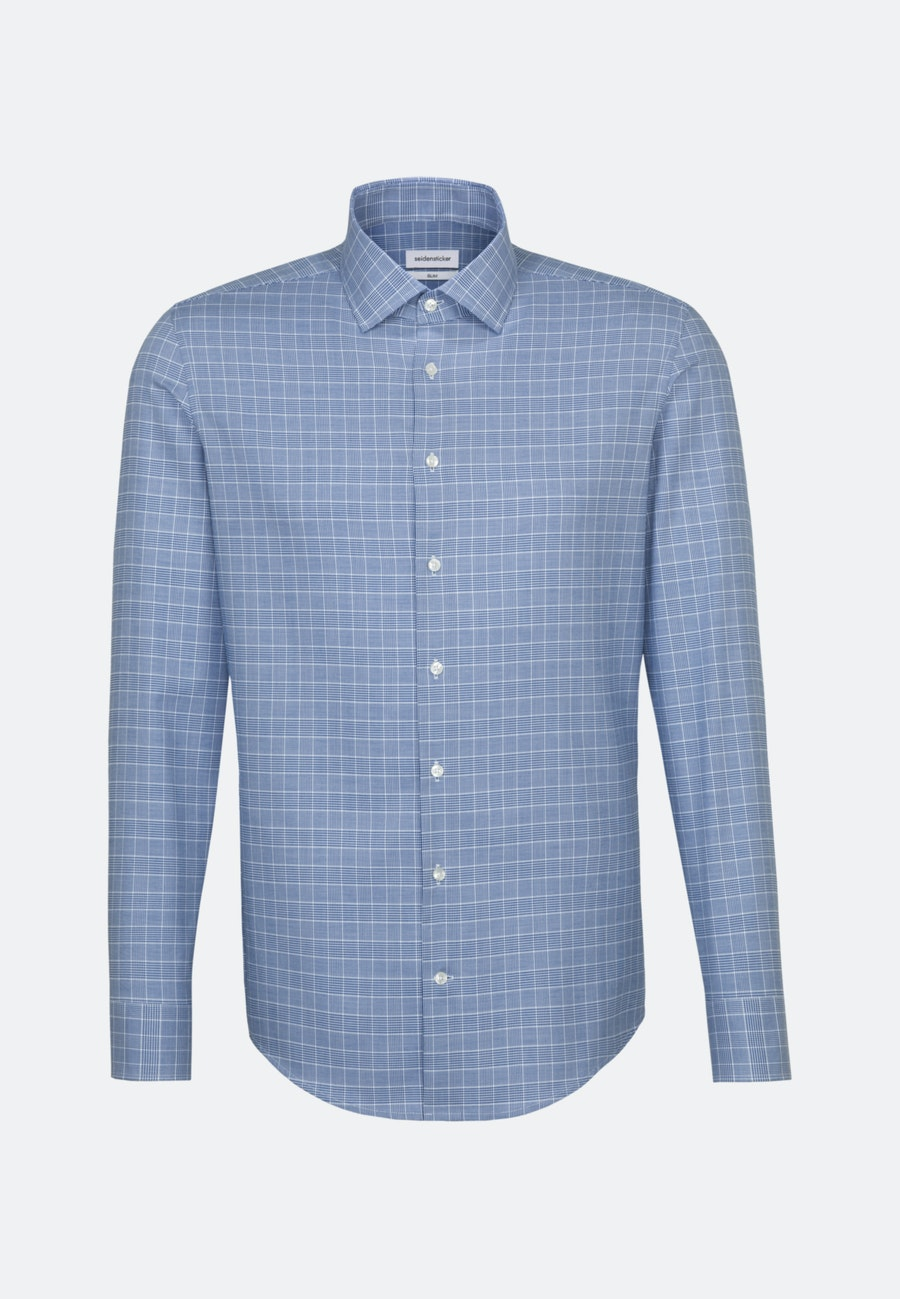 Bügelleichtes Glencheck Business Hemd in Slim mit Kentkragen in Mittelblau    Seidensticker Onlineshop