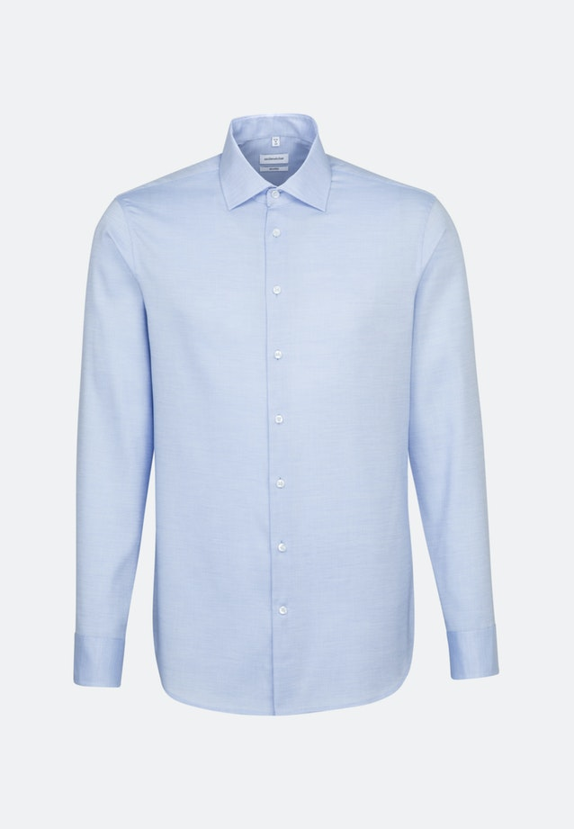 Non-iron Struktur Business Shirt in Shaped with Kent-Collar and extra long sleeve in Light blue    Seidensticker Onlineshop
