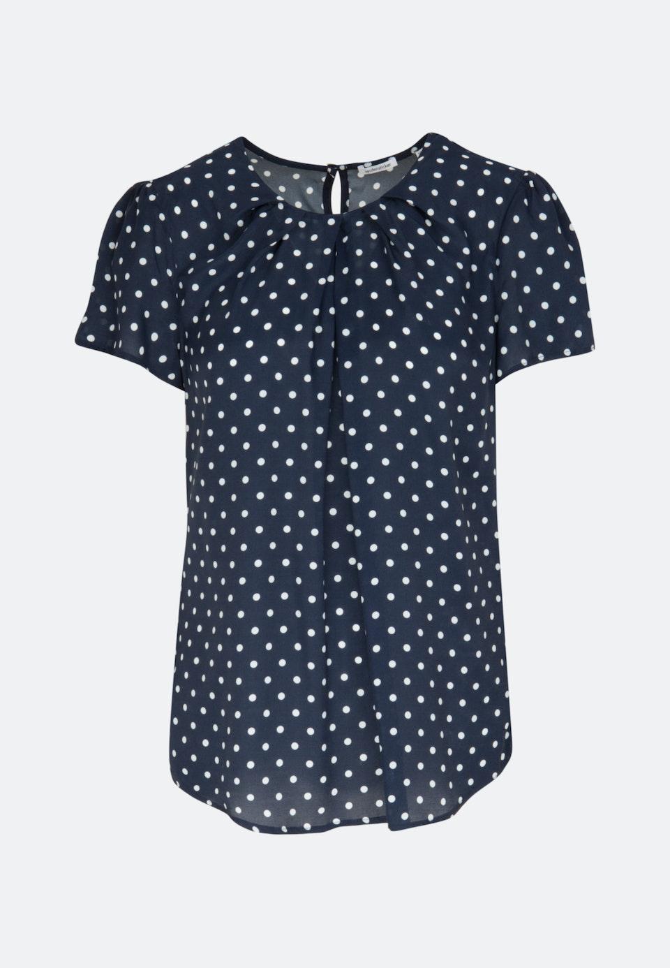 Kurzarm Voile Shirtbluse aus 100% Viskose in Dunkelblau |  Seidensticker Onlineshop