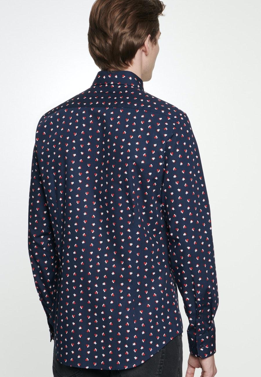 Bügelleichtes Popeline Business Hemd in Slim mit Covered-Button-Down-Kragen in Dunkelblau |  Seidensticker Onlineshop