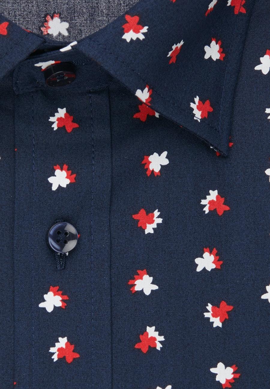 Bügelleichtes Popeline Business Hemd in Shaped mit Covered-Button-Down-Kragen in Dunkelblau    Seidensticker Onlineshop