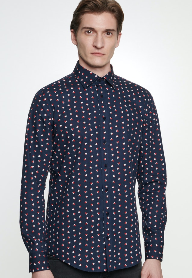 Easy-iron Popeline Business Shirt in Shaped with Covered-Button-Down-Collar in Dark blue    Seidensticker Onlineshop
