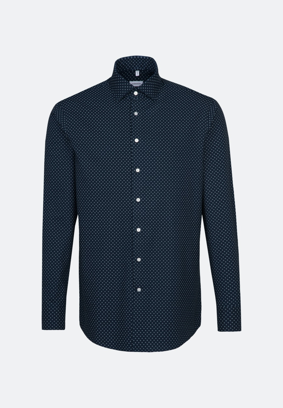 Easy-iron Oxford Business Shirt in Shaped with Kent-Collar in Dark blue |  Seidensticker Onlineshop